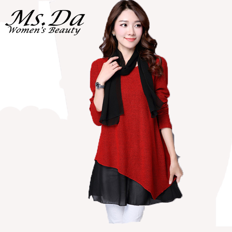 with scarf blouses and shirts 2015 new sleeve