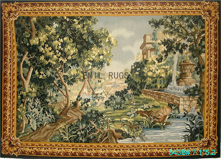 Handmade wool aubusson tapestry gobelin 159CMX216CM 5.2'X 7.1' landscape gc22tap5(China (Mainland))