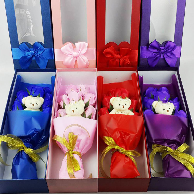 2017 New Mother's Day Gift 9Pcs/Box Rose Soap Flower with Little Bear Gift Box Romantic Scented Bath Soap Rose Soap Flowers(China (Mainland))