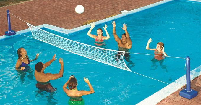 Water spel set kruis ingegraven zwembad leuk volleybalnet for Zwembad spel
