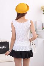 2015 New Fashion Women Summer Sexy Crop Top Sleeveless T shirt Lace Bralette Slim Vest Crochet