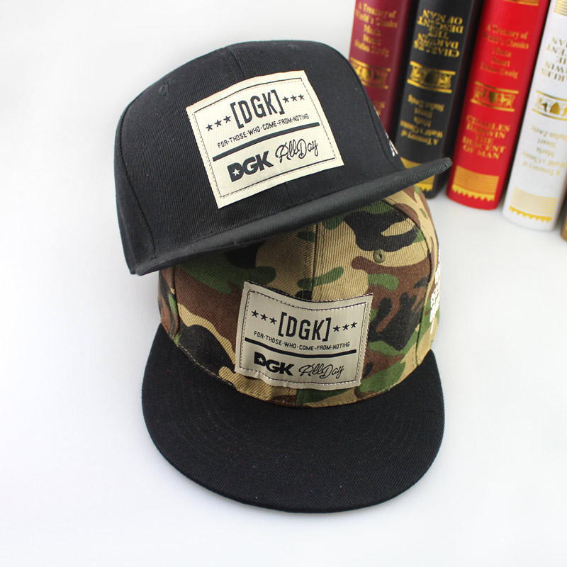 2015 new fashion design camouflage fast passing fashion words DGK baseball cap hip-hop cap in both men and women(China (Mainland))