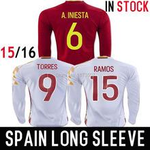 2016 Long Sleeve Soccer Jersey Spain Fernando Torres Espana Camiseta de futbol Sergio Ramos INIESTA Equipacion Futbol Maillot(China (Mainland))