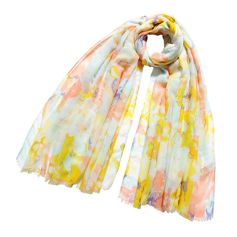 LING/Free Shipping 180*105cm Womens Scarves Oblong Lace Shawl Lady Fluorescence Voile Scarf Wild Lily Flowers Pink And Green 022(China (Mainland))