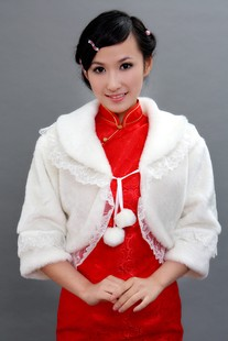 Stella free shipping Red bride shawl fur cape winter marriage cape white lace decoration(China (Mainland))