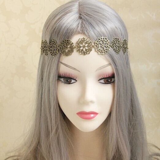 Womens Girls Vampire Gothic Punk Vintage Bohemia Head Wreath Fashion Hippy Bronze Flower Hairband Party Gift(China (Mainland))