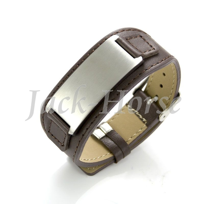 Mi band Wide Leather bracelet Stainless steel mens leather cuff - Jack-Horse Jewelry store