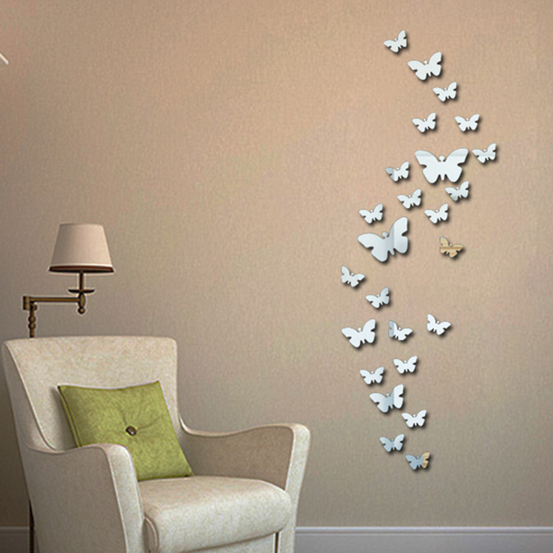 Qt 0046 new 30pcs decorative vinyl 3d butterfly wall decor poster vintage wallpaper mirror wall - Art on walls home decorating ...
