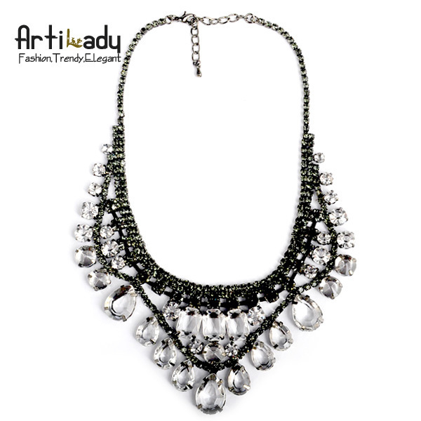 Artilady wholesale winter deisgn crystal bib choker collar necklace  waterdrop pendents statement necklace jewelry