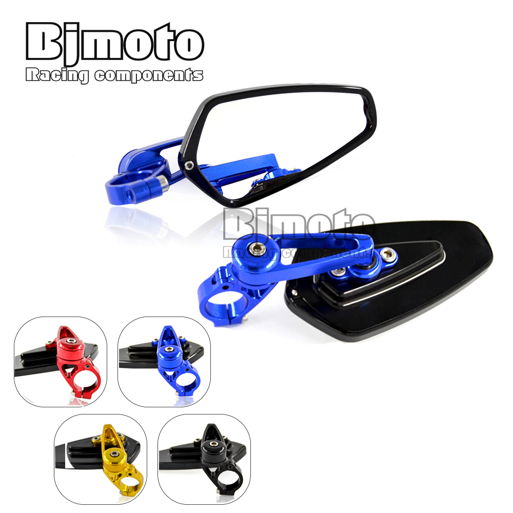 7/8 inch 22mm Universal Pair Motorcycle CNC Aluminum Rearview Mirror Handle bar End Blue Side - BJMOTO RACING COMPONENTS MotoSport Store store