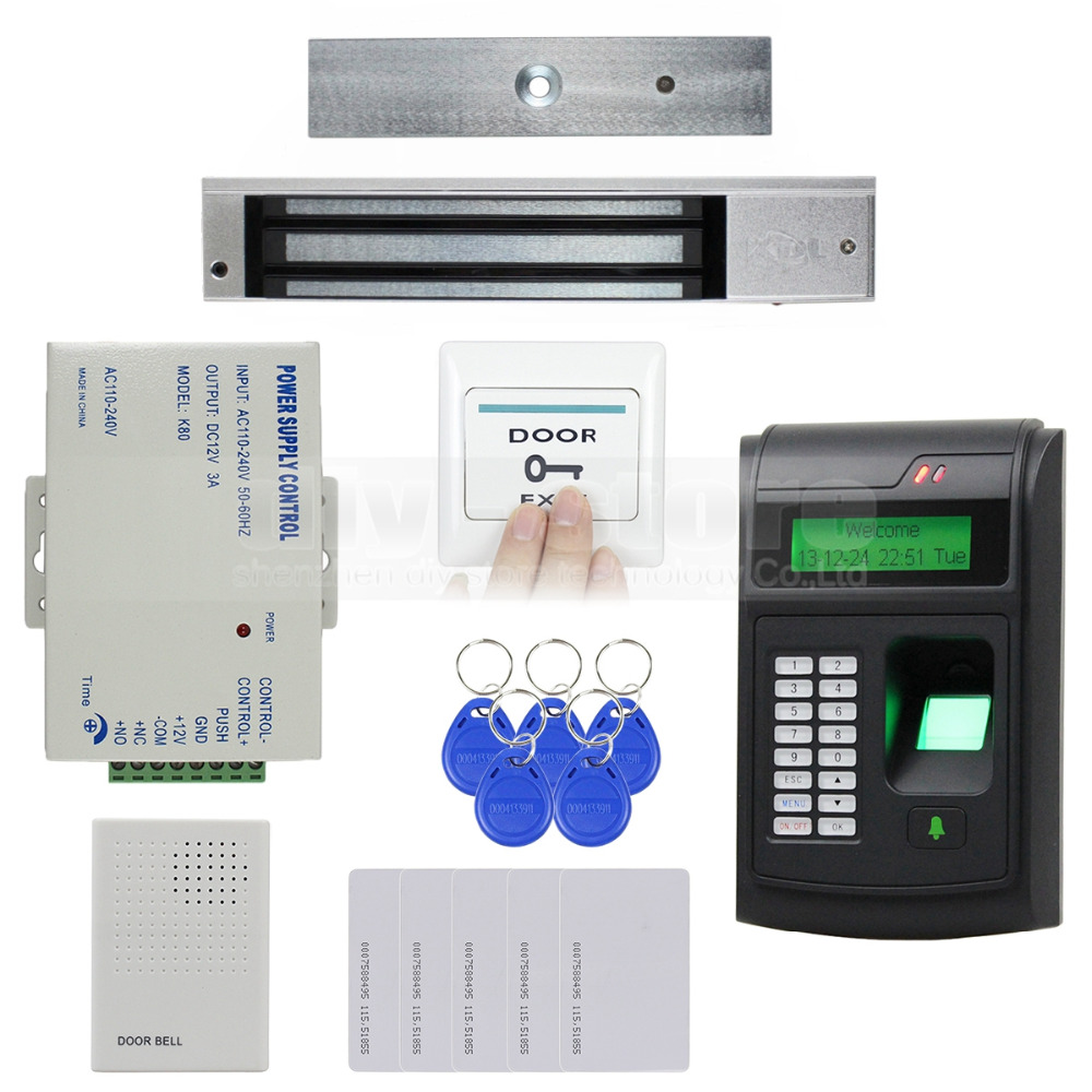Door Bell Remote Control 125KHz RFID LCD Fingerprint Keypad ID Card Reader Access Control System Kit + 280kg Magnetic Lock(China (Mainland))