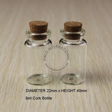 50pcs 8ml Small Glass Bottles Vials Jars With Cork Corks Stopper Decorative Corked mini Glass Bottle For Pendants Free shipping(China (Mainland))