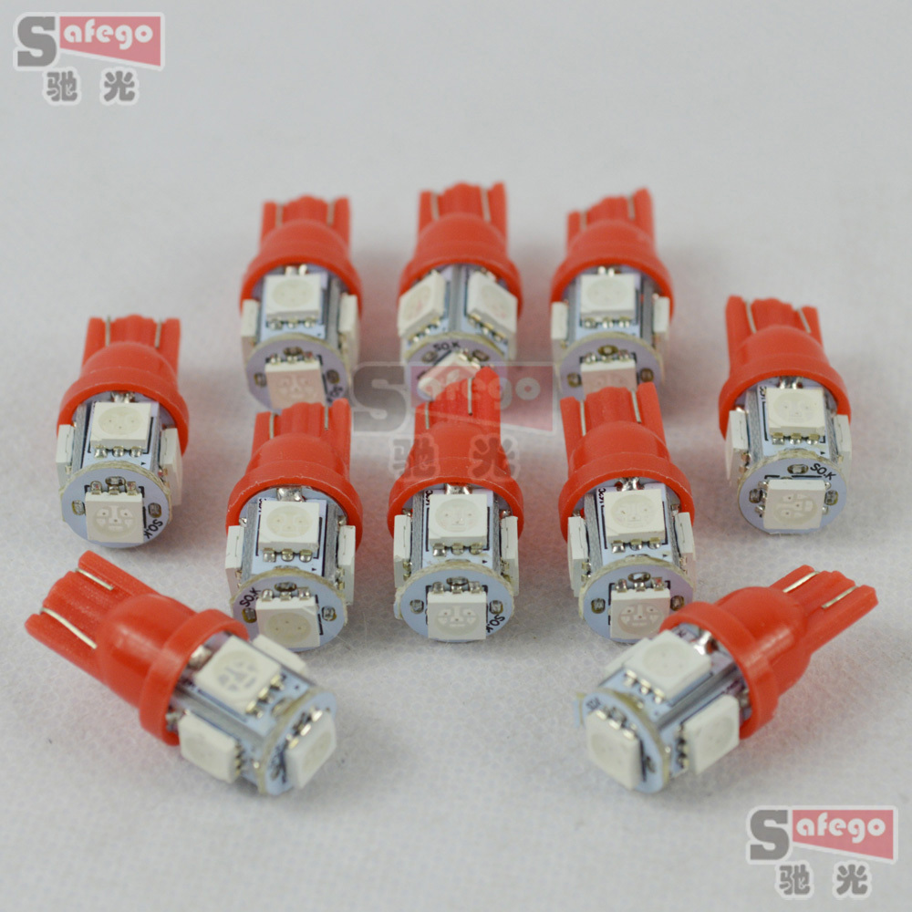 50pcs smd led t10 dc 12v t10 led lights t10 wedge w5w led white car reading lamp led dome light whtie pink red blue green yellow(China (Mainland))