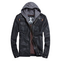THOOO Brand Mens PU Leather Jackets Hoodie Jacket For Mens Good Quality Faux Leather Business Outwwaer