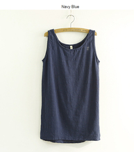 2015 New Summer Style Crop Top Sleeveless Linen Cotton Loose Mother Tanks Soft O Neck Confortatble Vest Hot Top 150518A(China (Mainland))