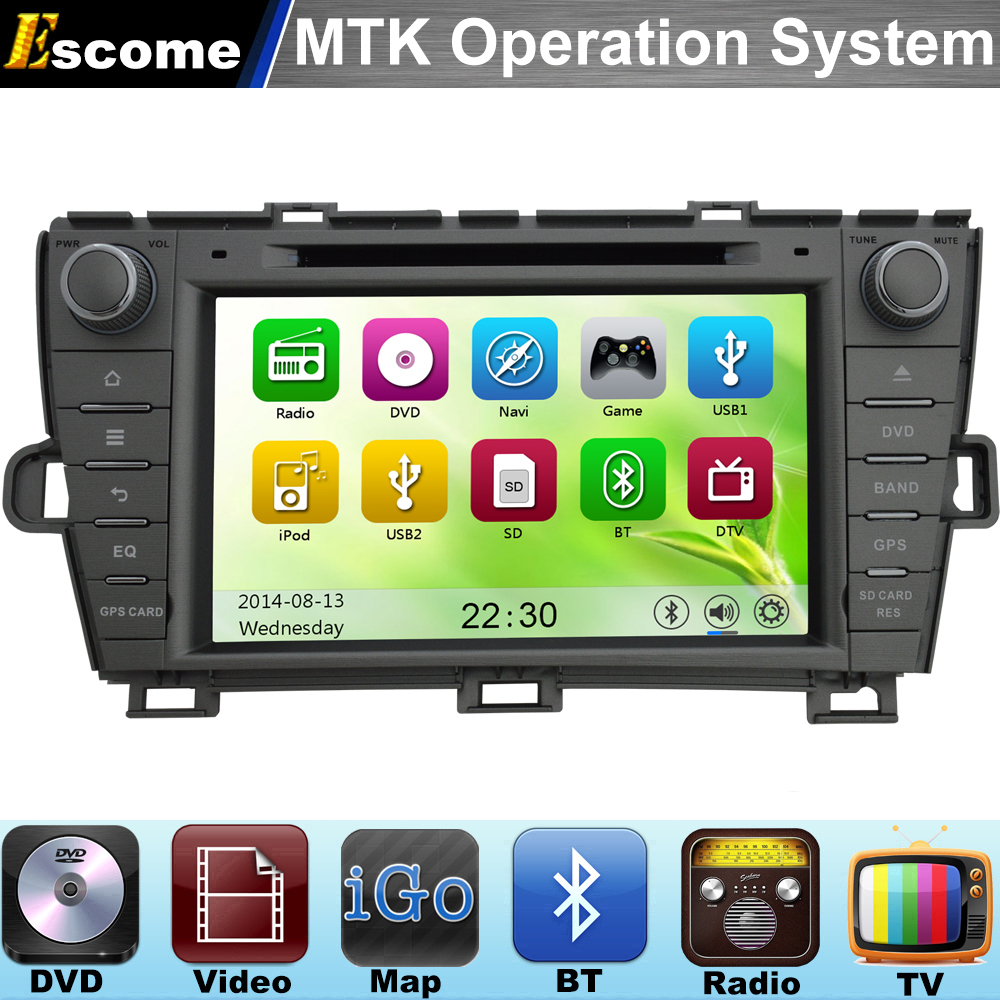 2 din MTK3360 Car DVD Automotivo Autoradio car dvd player For Toyota Prius 2009 2010 2011 2012 2013 with Bluetooth Radio GPS(China (Mainland))