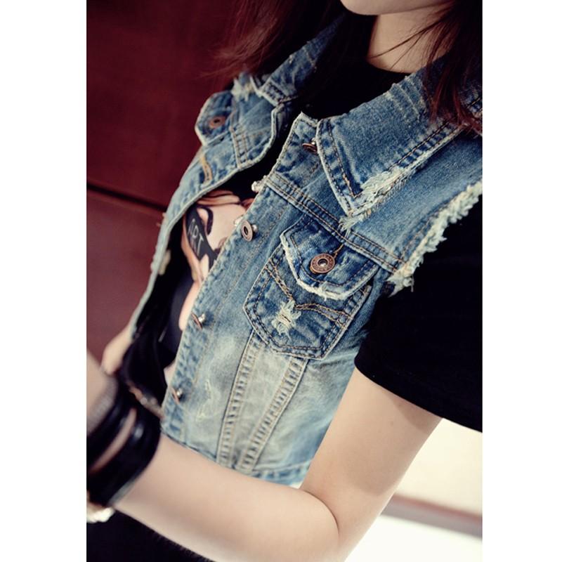 2016 Plus Size Denim Vest For Women Waistcoat Womens Autumn Sleeveless Summer Woman Vest Jacket