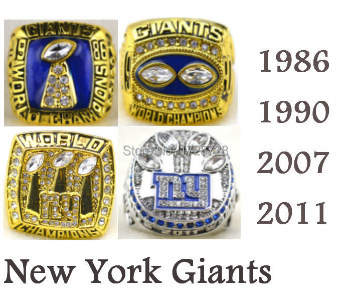 Free Shipping A full set NFL 1986 1990 2007 2011 New York Giants Super Bowl replica championship rings 4PCS as gift with box(China (Mainland))