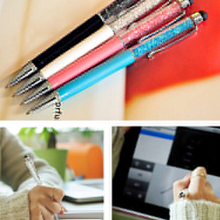 New Best Selling 2 In 1 Crystal Ultra-soft Writing Stylus Touch Screen Pen For iPhone Tablet  5JPI 7DAL(China (Mainland))