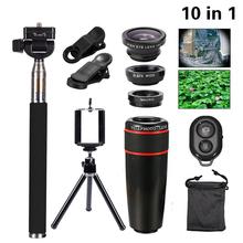 Buy Phone Camera 10in1 Kit Lenses 8x Telephoto Lens+Fish Eye Wide Angle Macro Lentes+Selfie Stick Monopod+Mini Tripod Clip Holder for $19.96 in AliExpress store