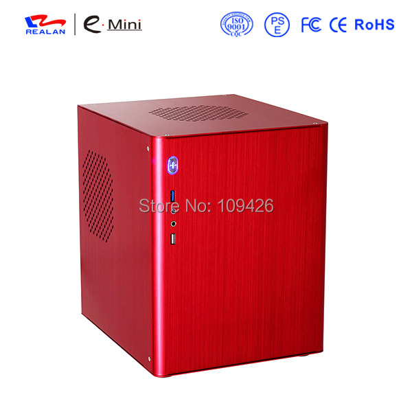 Realan D5 Wiredrawing Red Aluminum Mini ITX Case Micro ATX Case For Standard ATX Power Supply(China (Mainland))