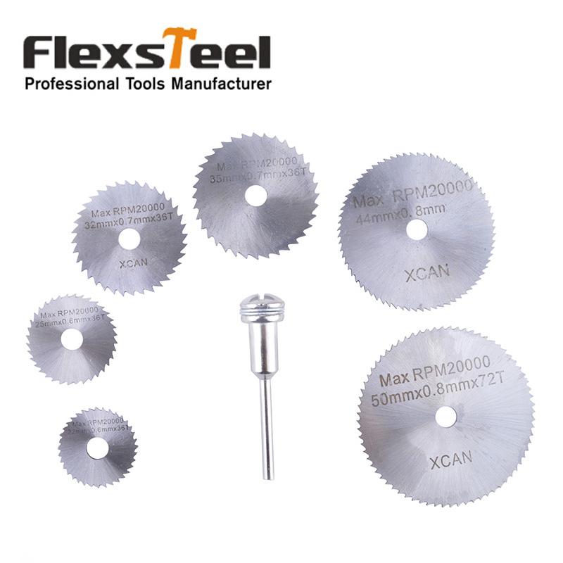 Flexsteel 6pcs HSS High Speed Steel Circular Saw Blades Set with Mandrels Shank for Metal Dremel Rotary Tool <br><br>Aliexpress