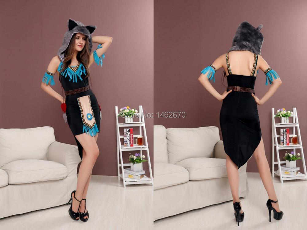 2015 new halloween costumes COS animal wolf Costume female sexy uniform dress ACG317(China (Mainland))