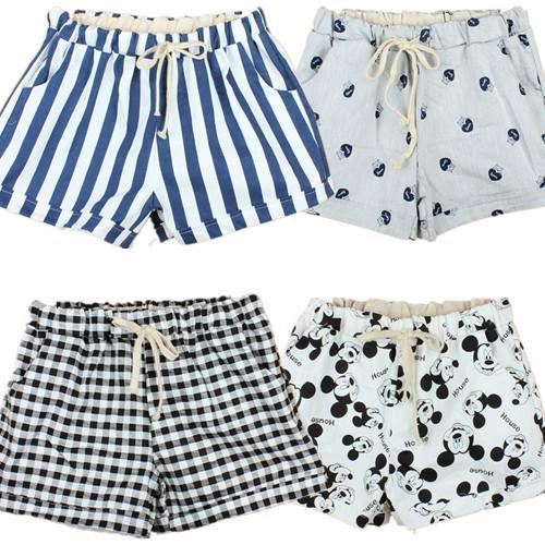T102 2015 Women Shorts Spring and summer shorts bear mouse cartoon feamel shorts girl loose lace waist drawstring cotton shorts(China (Mainland))