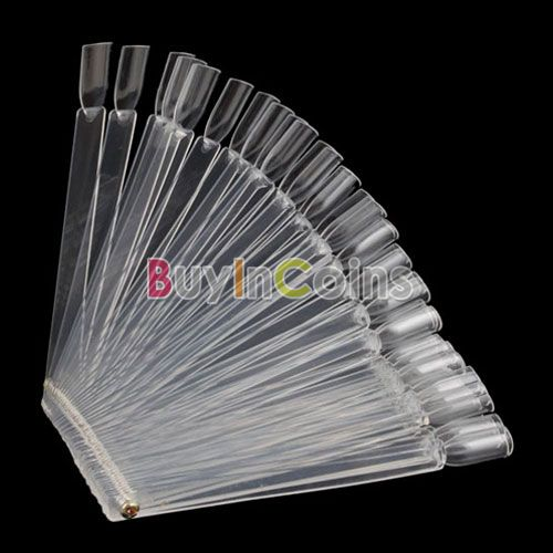 50 pcs Practice Fan Board False Nails Art Tips Stick Display US AS #4804(China (Mainland))