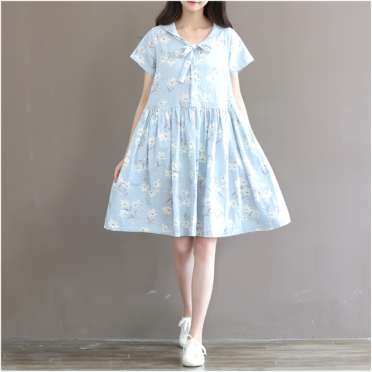 2016 Summer New Preppy Style Womens Short sleeve Loose Casual Dress Sailor Collar Cute Bow lacing cotton linen Knee-length DressОдежда и ак�е��уары<br><br><br>Aliexpress