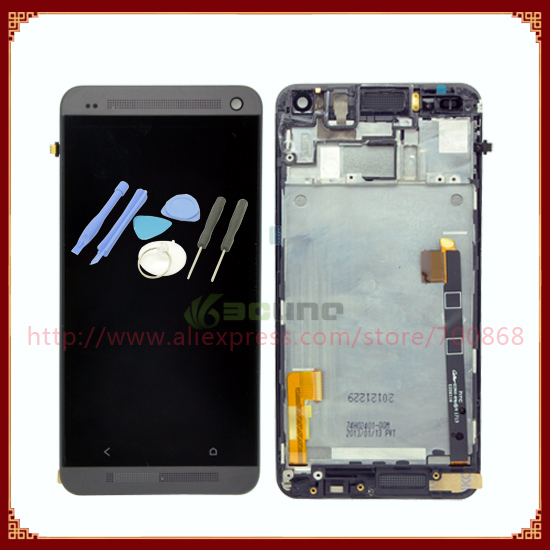 100% Guarantee Original For HTC One M7 801e LCD Screen with Touch screen digitizer Assembly + Frame +Tools Free shipping