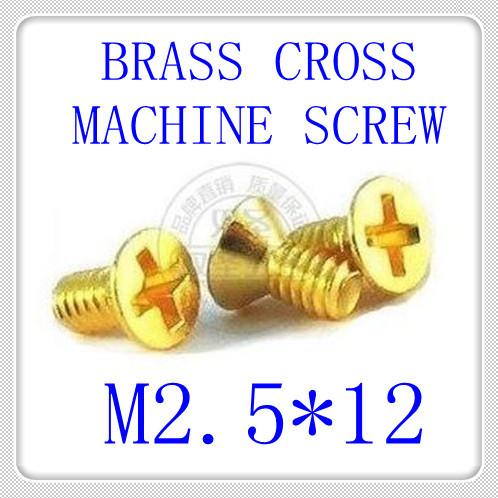 100pcs/lot DIN965 M2.5*12 Brass Phillips Flat Head (Cross recessed countersunk head screws) Machine Screw<br><br>Aliexpress