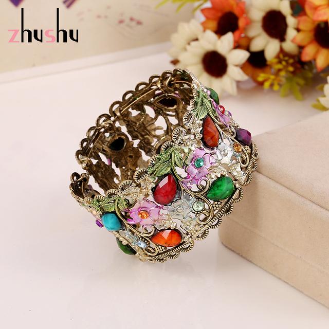 Старинные роскошные цветы браслет браслеты 6 цветов создан драгоценный камень индийские ...