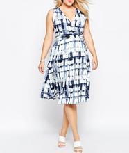 Xl-xxxxl большие размеры 2016 бесплатная доставка летом женщины жира платье сексуальный v-образным вырезом рукавов цифровой печать плед свободного покроя платье vestido