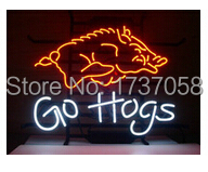 """2015 Hot neon sign commercial custom neon real glass tube GO HOGS indoor/ outdoor display/party lights/advertising/art 17*14""""(China (Mainland))"""