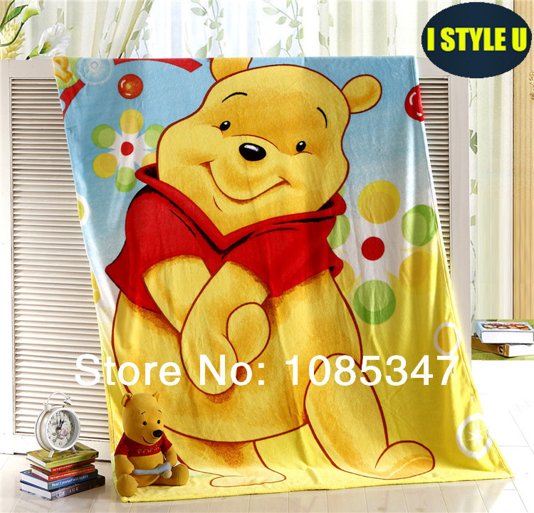 Brand Winnie the Pooh coral fleece blanket blue 59''x78'' twin single size knit bed blanket throw blanket soft warm comfort- LU(China (Mainland))