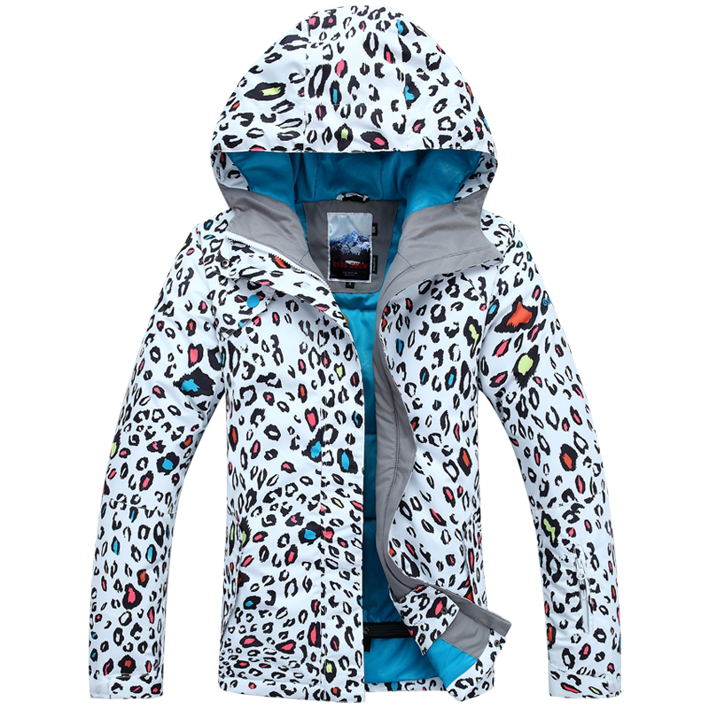 snowboard jacket 2015 outdoor snow ski suit Ladies Girls Women's windproof waterproof super strong thermal fashion leopard print(China (Mainland))