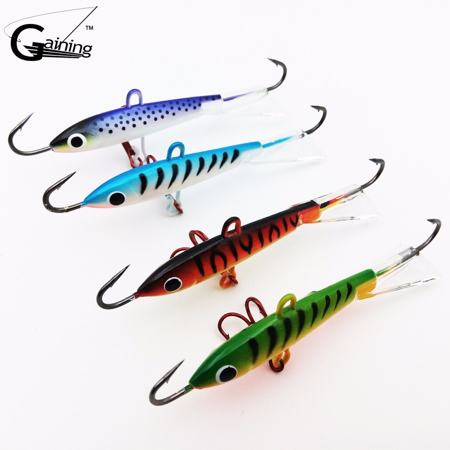 1- 4 pcs Ice Fishing Jig Lure 8.3CM-18g Carp Fishing hooks Lead Hard Lure 10# Red hook Winter Fishing Lures