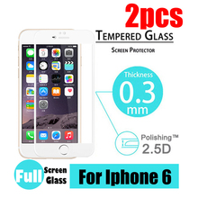 2pcs/lot Premium Tempered Glass Screen Protector with Full Coverage white border For iphone 6 4.7inch Toughened protective film