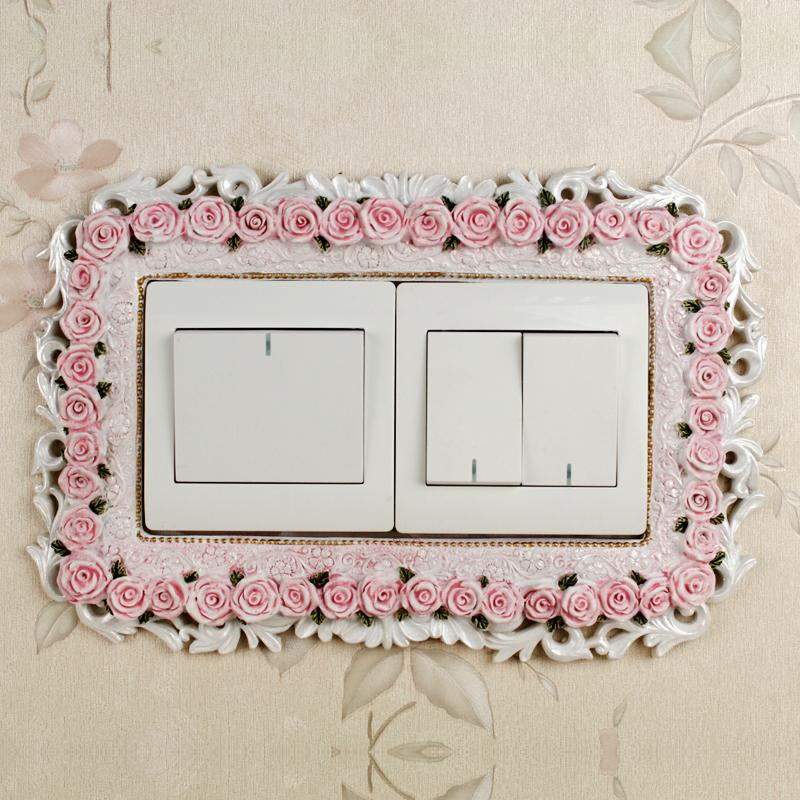Switch cover wall stickers two-piece fashion polyresin resin switch stickers wall rustic socket decoration(China (Mainland))