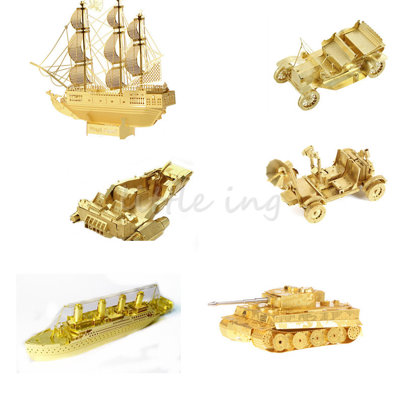3D jigsaw Golden metal puzzles Assembled Titanic Ford car DIY Black Pearl Pirate Ship Tiger Tank Intelligence Model enfeites(China (Mainland))