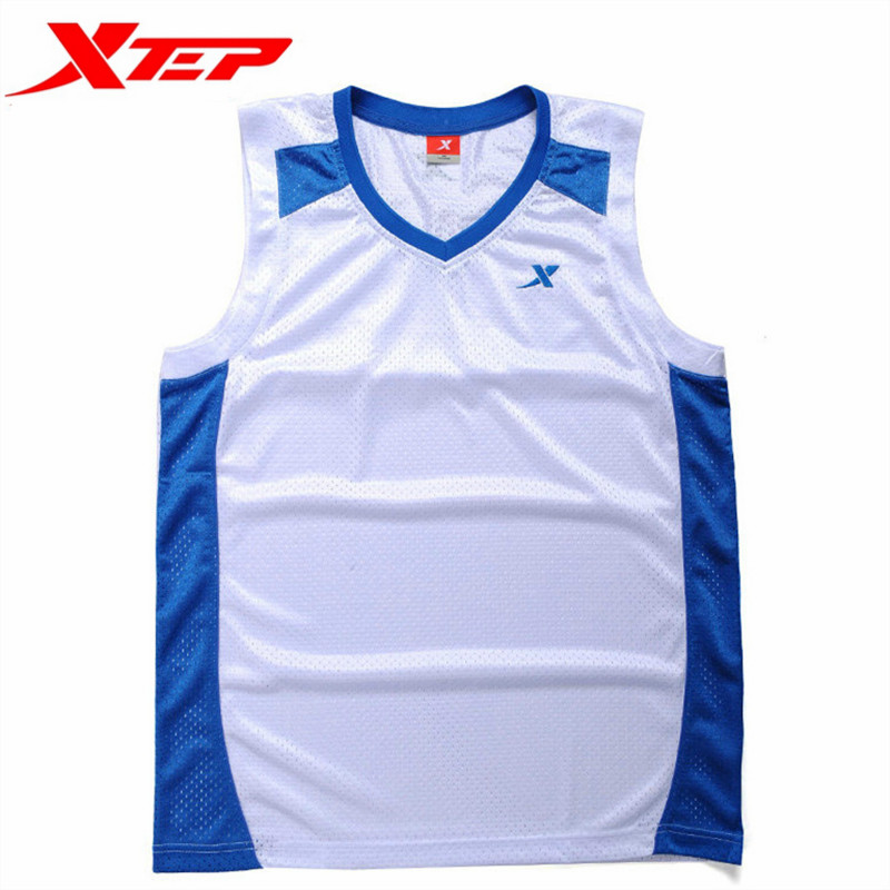 XTEP Mens Summer Patchwork V-Neck Anti-sweat Basketball Jersey Male Breathable Sleeveless Authentic Sports Jerseys 9864A1W39(China (Mainland))