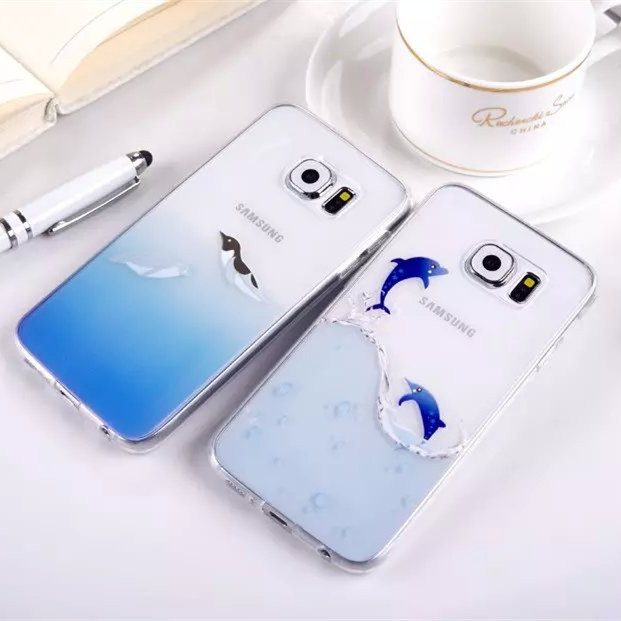 Lovely Ocean Animal Penguin Dolphin Seal Fish Pattern TPU Case for Samsung Galaxy S6 G9200 Soft Phone Cover Transparent Case(China (Mainland))