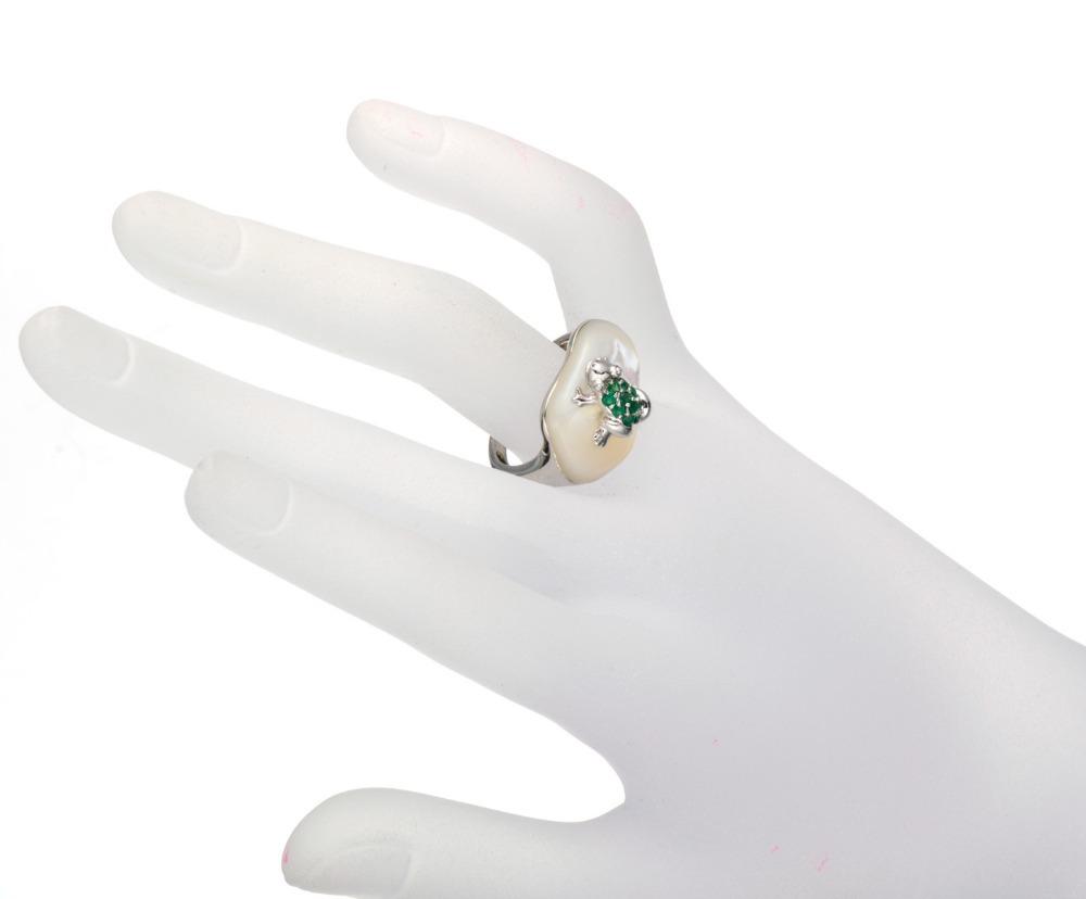 Изящных ювелирных изделий подлинная цаворит и перламутр твердые стерлингового серебра 925 лягушка кольцо