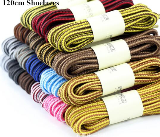 Hot Selling 120cm Round Shape Shoelace Nylon Shoe Lace Double Tone Color Adult Shoelaces Boot Shoelaces 3 pairs/lot