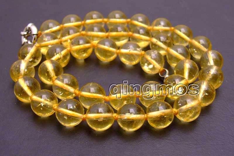 บิ๊ก10มิลลิเมตรรอบคริสตัลสีเหลืองธรรมชาติ17 ''Necklace-nec6176ขายส่ง/ขายปลีกจัดส่งฟรี ถูก