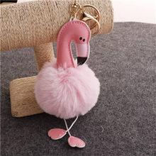 Llaveros Bonito Chaveiro pompom Chaveiro Flamingo Chaveiro Fofo Falso Bola de Pêlo de Coelho Mulheres Saco pompom Acessórios Anel Chave Do Carro(China)