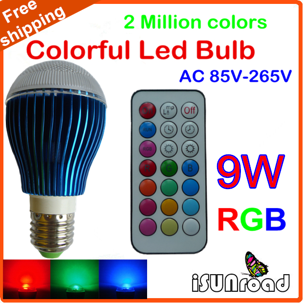 New arrival Colorful RGB LED Bulb E27 9W AC 85-265V RGB led Lamp LIGHT with IR Remote for Home Bar Party Christmas Lighting(China (Mainland))
