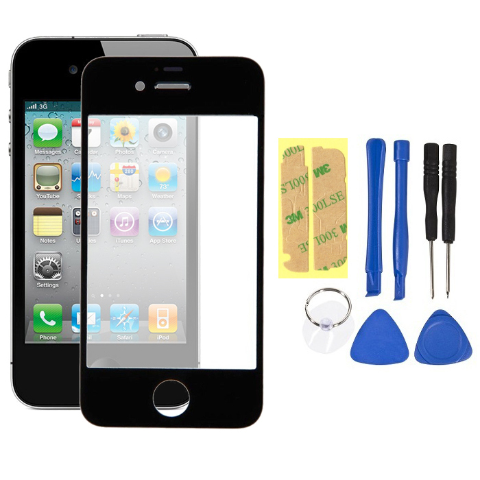 Replacement LCD Front Touch Screen Glass Outer Lens + Opening Tools + 3M Glue Repair for iPhone 4 4s Black/White Color