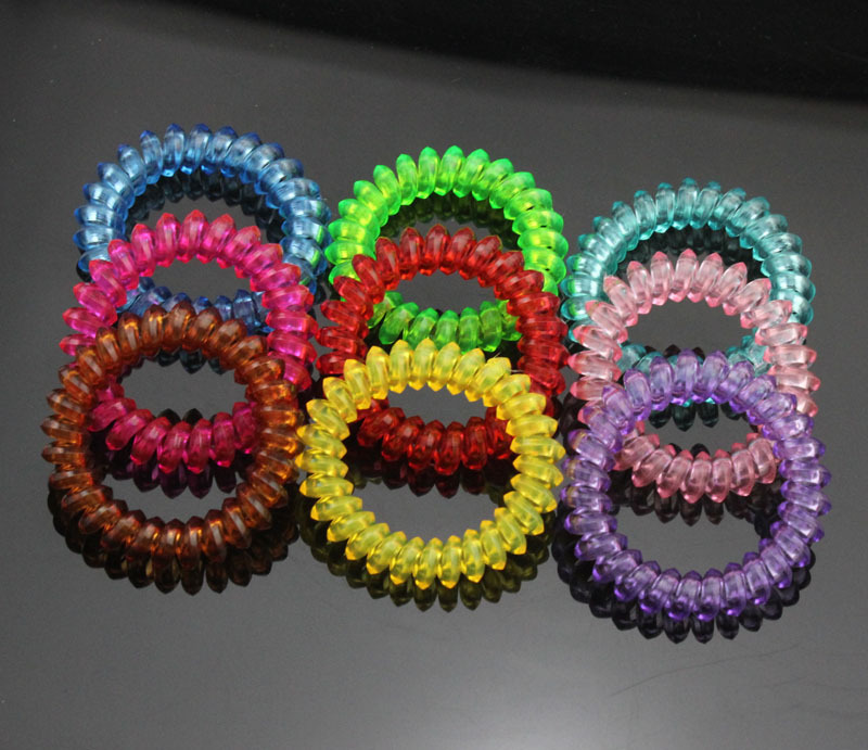 5cm 1 New Telephone Wire Cord Line Clear Candy Color Ponytail Holder Elastic Hair Rings Tie Scrunchy Drop Shipping - Fashion Sock's World store
